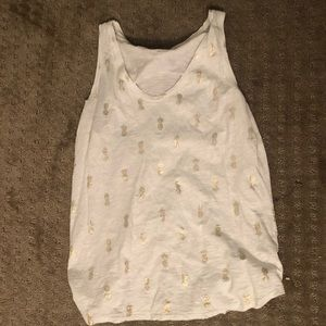 White & Gold Pineapple Tank